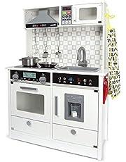 Leomark Witte moderne speelkeuken van hout - witte kleur - kinderkeuken met accessoires, elektrische houten keuken, functioneel kleurrijk speelgoed, voor meisjes en jongens, toon en lichteffecten, hoogte: 94 cm