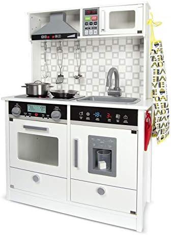 Leomark White Modern Cocina eléctrica Madera Infantil con Accesorios: Campana Extractora, microondas - Color BLANCO - Juguete para Niños Efectos de ...