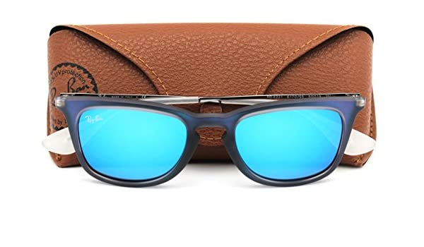 b1d8a40f63 Amazon.com  Ray-Ban RB4221 617055 Unisex Sunglasses Blue Rubber Frame    Blue Flash Lens  Clothing