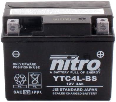 Batterie Nitro YTC4L-BS GEL 12V//4AH f/ür Piaggio//Vespa Free 50 Baujahr 1993 Ma/ße: 113x70x85