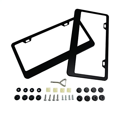 License Plate Frame,TOPNEW 2 PCS Matte Black Aluminum License Plate Frames with Accessories (Screws, Black Screw Caps, Screw Fasteners, Screwdriver) (License Plates Blanks)