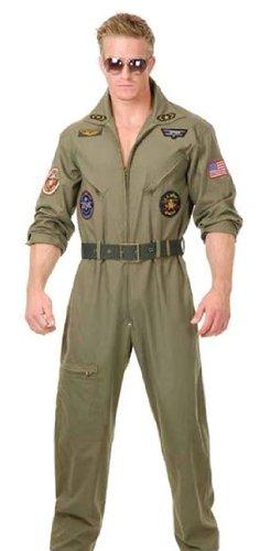 Charades Men's Wingman Flight Jumpsuit and Belt, Olive Green, Small