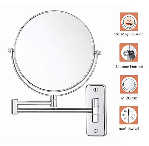 IMeiMiu Makeup Mirror, Wall Mounted Makeup Mirror, 8 Inch 10X Magnifying Shaving Mirror Double-Sided Extendable Bathroom Mirror, Chrome Finished