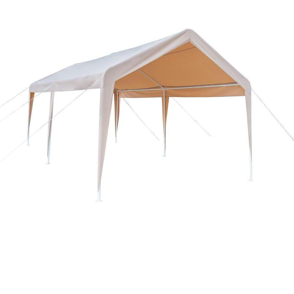 VINGLI 10' x 20' Heavy Duty Outdoor Gazebos Carport, Car Park Sun Shelter, 250G Polyester Fabric Cover UV Protect and Waterproof, Upgraded Steady Steel Panels & Parts,Event Wedding Party Tent, Khaki