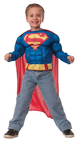Superman Outfit For Men (UHC Boy's Superman Muscle Shirt Kids Child Fancy Dress Party Halloween Costume, S (4-6))
