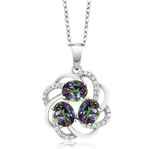 Gem Stone King 1.85 Ct Green Mystic Topaz 925 Sterling Silver 3-Stone Spiral Pendant ()