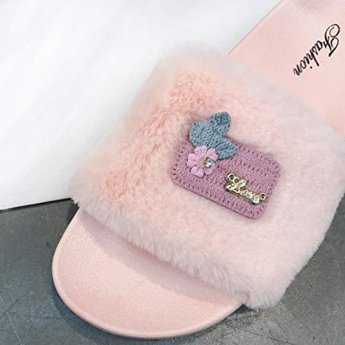 Dames S Flat Fluffy Chaussons Rose NEEDRA Automne Femme Fourrure Hiver amp;H Sliders Slip Flop Printemps A on Sandales Fausse Flip BBwYgq