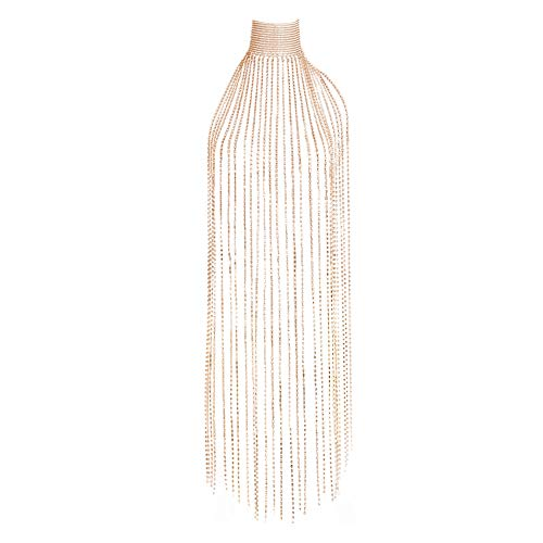 MineSign Diamond Choker Necklace Long Tassels Choker Wide Chain Necklace Fashion Jewelry Gold