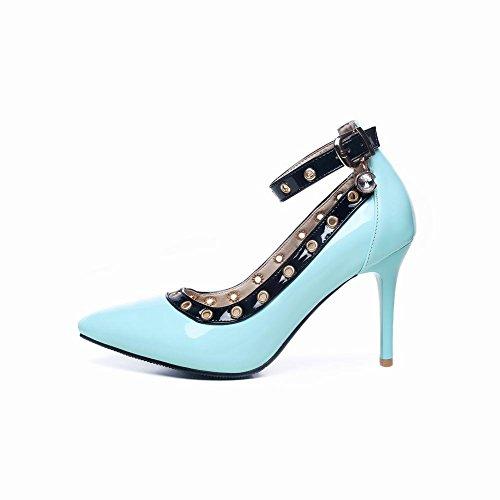 Schuhe Frauen Heel Charm High New Style Blau Knöchelriemen Carolbar Gericht 8qgdv8