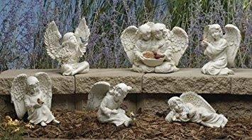 Assortment of 6 Angel and Cherub Garden Statues ()