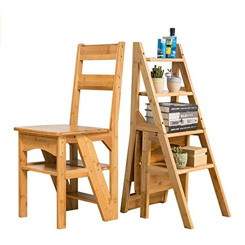 QTQZ How to Send Stool Brisk- Solid Wood Bench Multi-Function Household Ladder Chair Double-Use Folding Ladder Chair Back Chair Mobile Four-Step Ladder Chair (2 Colors) (Color: White)