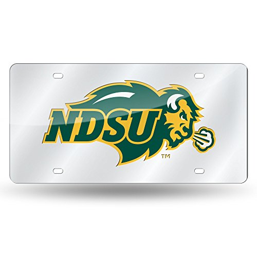 Rico Industries NCAA North Dakota State Bison Laser Inlaid Metal License Plate Tag, Silver ()