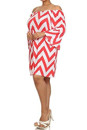 GLJ TRADING (Plus Size) Zigzag Print Kimono Sleeves Convertible Shirt Dress (Made in U.S.A)
