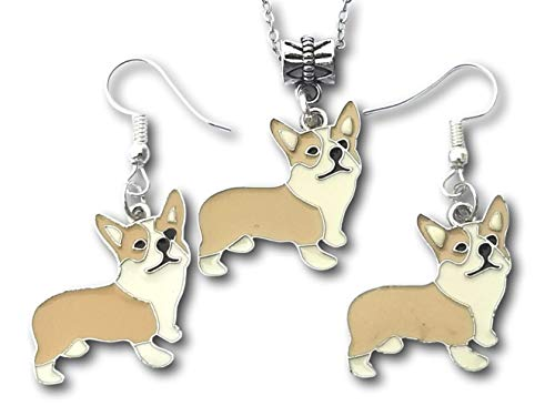 Pashal Pembroke Welsh Corgi Dog Enamel Necklace and Earrings Set (Earrings/Necklace Set)