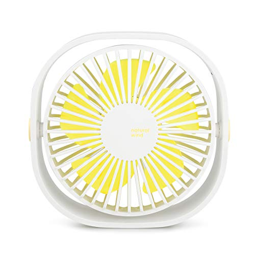 WIOR 3 Speed Mini Desk Fan USB 360-Degree Rotation Small Air Circulator Table Fans Cooling Quiet Personal Fan 4.8 Inch for Office, Home, School, Workplace White