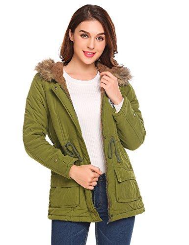 Shine Women Parkas Jacket Faux Fur Lined Warm Hooded Winter Coats