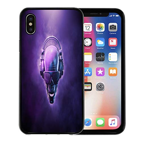 Semtomn Phone Case for Apple iPhone Xs case,Purple Hip Disco Ball Skull 3D of Shaped Mirror Headphones and Shaded Glasses Blue Hop for iPhone X Case,Rubber Border Protective -