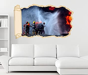 3d Wandtattoo Feuerwehr Loscht Feuer Flammen Tapete Wand Aufkleber