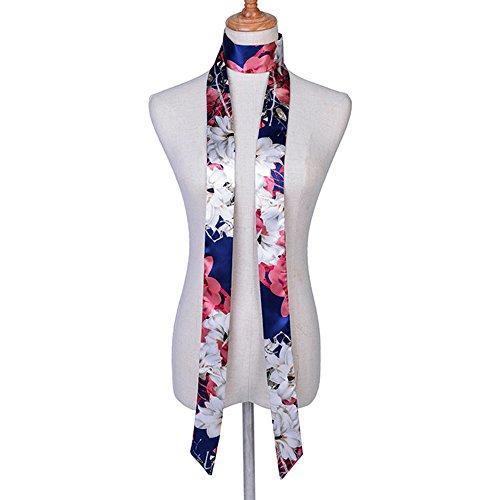 CHICOMP Women's Vintage Floral Print Stain Silk Skinny Scarf/Choker Neck Scarf Tie/Silk Ribbon Sash/Handbag Handle Ribbon,Multi-type