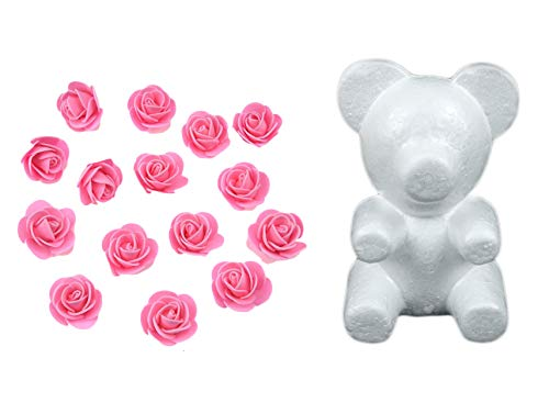 (Yalulu Bear-Shaped Modeling White 3D Polystyrene Foam Bear + 350 Pcs Mini PE Foam Rose Flower for DIY Crafts Gifts Valentine's Day Supplies)