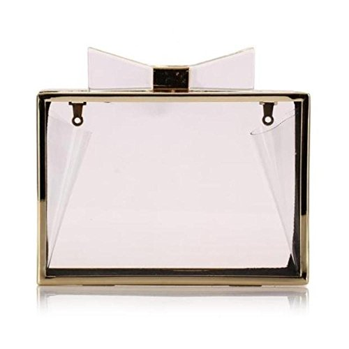 Womens à Clear De Sac Dîner Papillon Soirée Robe Paquet Main Noeud Transparent Clutch Bags XOZpnqXr