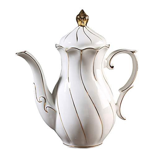 (Coffee Pot Tea Pot Coffee Kettle Espresso Coffee Maker Coffee Machine French Coffee Press Insulation Pot Manual Ceramics Gilt Creative Gold Swirl GAOFENG (Color : White) )