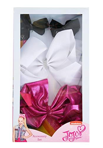 JoJo Siwa Signature Collection Hair Bow - Five Piece Box Set - 2 Mini Black Bows / 1 White Bow / 1 Pink Sparkle Bow