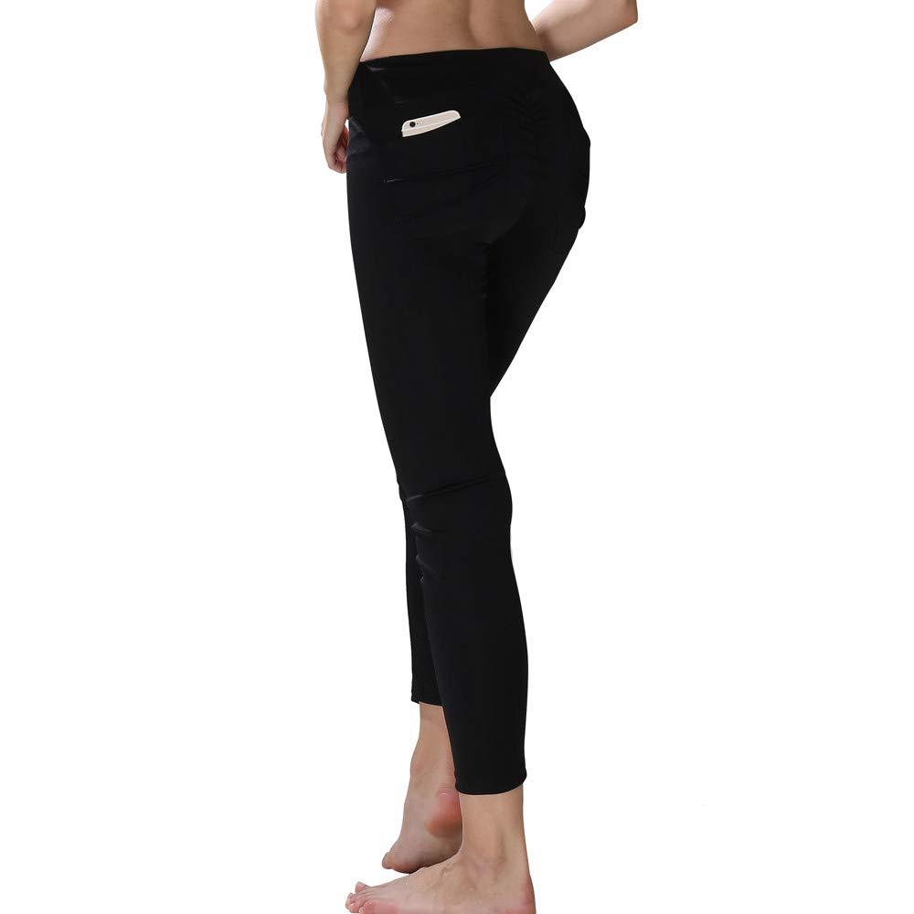 Pantalones Yoga Mujeres, Yusealia Mediados de Cintura Sólido Leggins Fitness Pantalones Con Bolsillo Elasticidad Moda Empalmada Pantalones De Correr Leggings EláSticos De Flaco Fitness Leggins Mujer