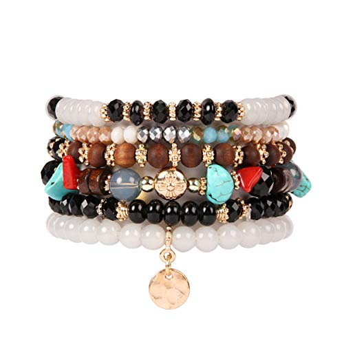 RIAH FASHION Bohemian Multi-Layer Sparkly Crystal Bead Charm Bracelet - Stretch Strand Stackable Bangle Set Tassel/Coin/Lava Diffuser Crescent (Bohemian Coin - ()