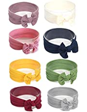 Pack of 8 Baby headbands Turban Knotted Nylon Girls Hairband Soft Stretchy Hair Wrap
