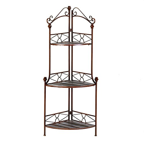 Accent Plus Bakers Rack Shelving, Rustic Corner Kitchen Storage Modern Metal Bakers Rack by Accent Plus