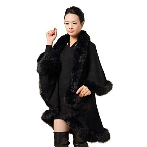 Fheaven Women's Faux Fur Collar Poncho Cape Stole Wrap Hoody Sweater Coat (Black)
