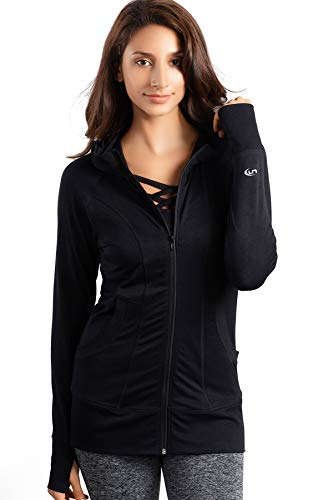 Track Jersey Jacket - Lin Slim Fit Lightweight Full-Zip Jersey Long Sleeve Hoodie Sweatshirts Yoga Workout Track Jackets for Womens BlackL