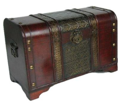 Old Fashioned Wood Storage Trunk Wooden Treasure Chest - Enhanced Medium Size by Styled Shopping
