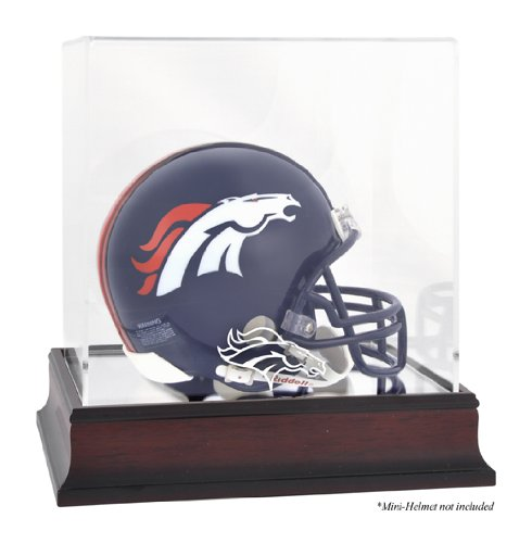 Denver Broncos Mahogany Mini Helmet Logo Display Case