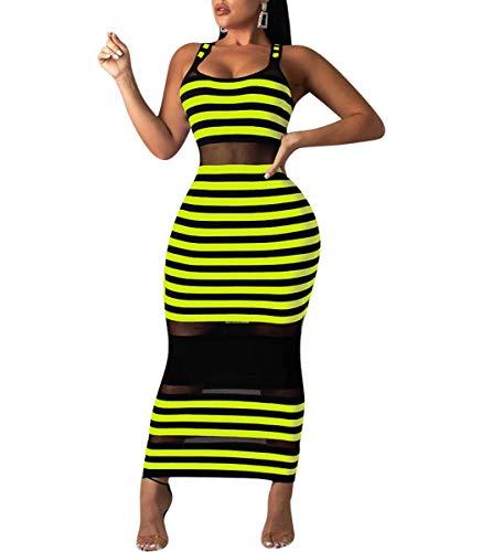 Ophestin Womens Sexy Bodycon Sundress - Sleeveless Stripe Print Summer Tanks Sheer Mesh Cocktail Maxi Dress Clubwear Green ()