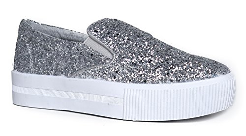 Women's Platform Slip On Glitter Sneaker - Elastic Casual Sparkle Flat Shoe - Ritz by Cute to the - Margiela Outlet