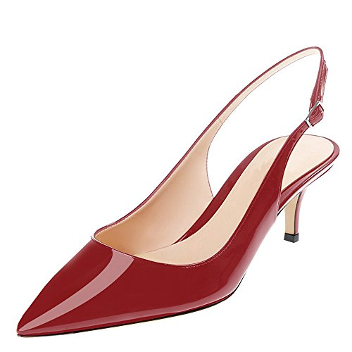 Lovirs Womens Slingback Enkelbandje Sandalen Stiletto Mid-hak Puntige Teen Pumps Schoenen Voor Feestjurk Wijnrood