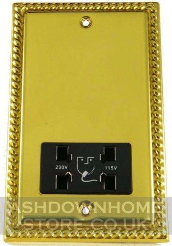 G&H MB30B Monarch Roped Polished Brass Dual Voltage Shaver Socket 115-230V G&H Brassware