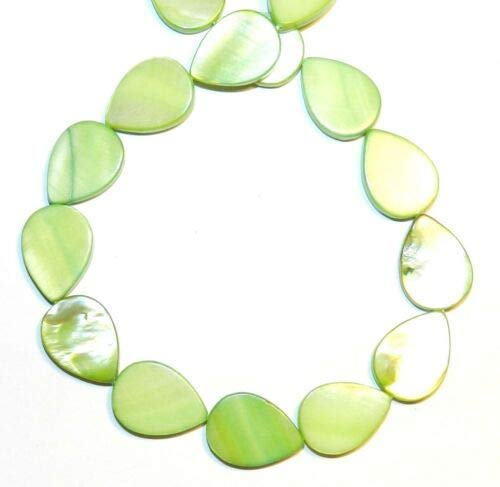 MP1816 Green 18mm Flat Teardrop Mother of Pearl Gemstone Shell Beads 15'' Crafting Key Chain Bracelet Necklace Jewelry Accessories Pendants