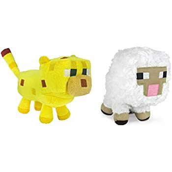Minecraft Sheep and Ocelot Plush Set, 6-8 Inches