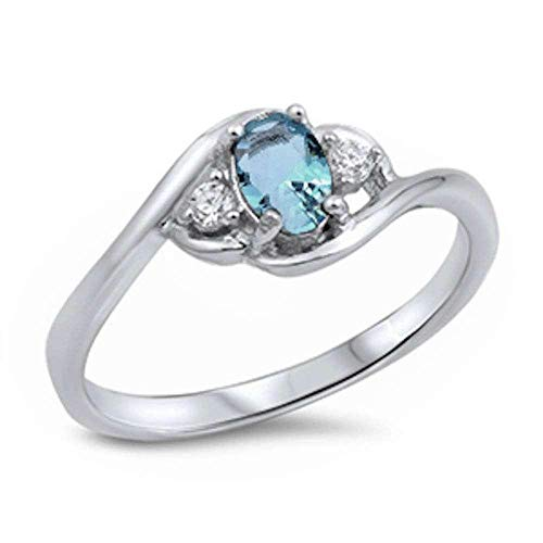 Princess Kylie Oval Synthetic Aquamarine and Clear Cubic Zirconia Wavy Band Ring Sterling Silver Size 5