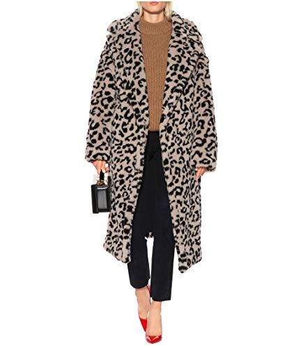 Women Long Leopard Print Coat White Oversized Warm Fluffy Faux Shearling Fur Maxi Teddy Bear Jacket (Notched Coat Collar Fur)