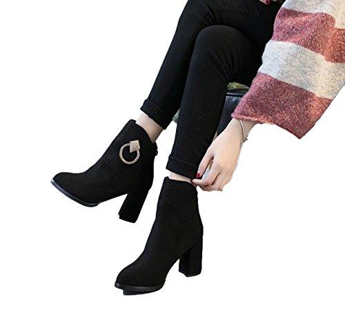 Ein Bißchen 2018 Herbst Warm Damen Stiefel Chukka Boots Fashion Leder Stiefel schwarz-O