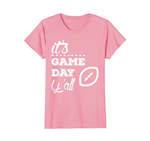 Football Game T-shirt (Womens It's Game Day Y'all T-Shirt | Vintage Southern Fan Tee Large Pink)
