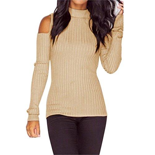 Fineshow Women Girls Long Sleeve Slim Off Shoulder Mock Neck Knit Pullver Sweater (XL, Beige) (Detailed Mock Neck Sweater)