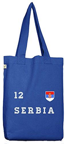 Serbia Fußball WM Fanfest Gruppen Bio Baumwoll Jutebeutel Stoffbeutel Trikot Serbien Bright Blue Pm2pKu