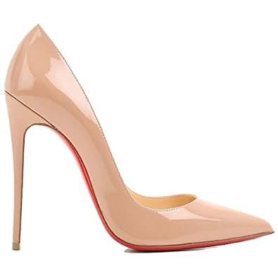 Christian Louboutin Mujer 3130694Pk1a Beige Cuero De Charol Zapatos Altos