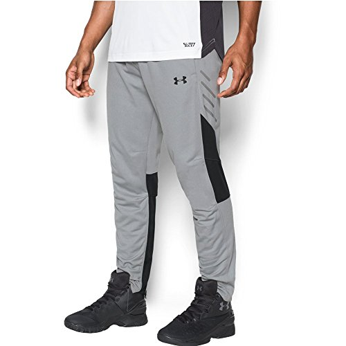 Under Armour Men's Team Warm-Up Pants, True Gray Heather (025)/Black, Small -