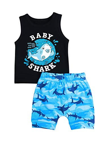 Baby Boy Clothes Shark and Doo Doo Print Summer Cotton Sleeveless Outfits Set Tops and Short Pants(18-24 Months) (Cotton Print Vest)